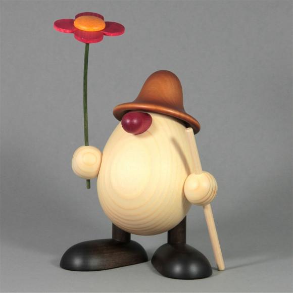 Eierkopf Rudi mit Blume und Stock, braun