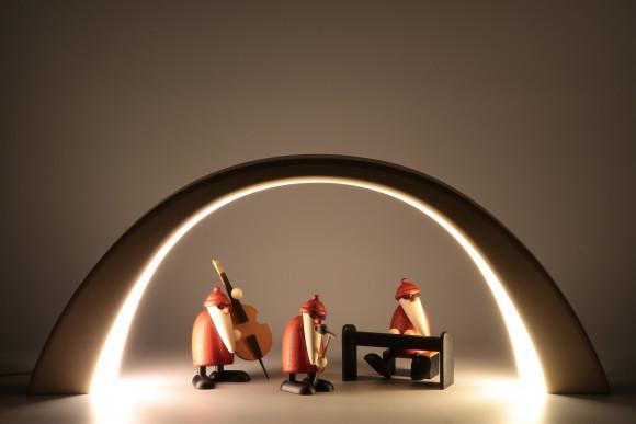 LED Lichterbogen  mit Innenbeleuchtung und Weihnachtsmannband, natur