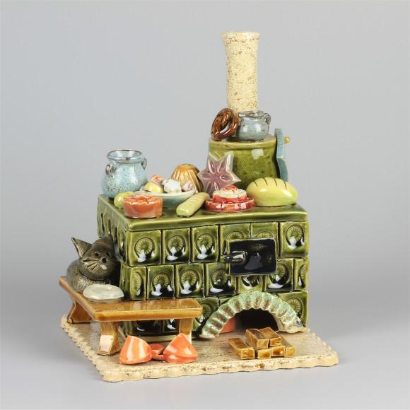 Keramik Räucherofen Zuckerbäckerei Herd grün eckig