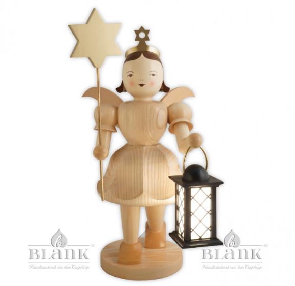 Kurzrockengel mit Stern und Laterne, elektrische Beleuchtung, 50 cm
