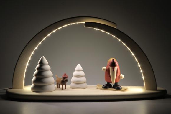 LED-Schwibbogen mit Björn Köhler Weihnachtsmann auf Snowboard