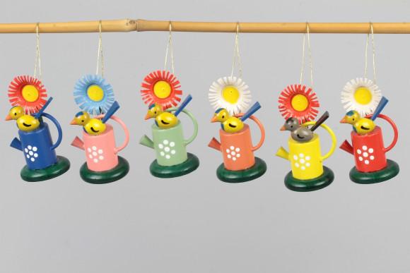 Baumbehang Gießkannen mit Blume und Vogel, 6-teilig