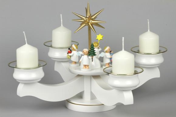Adventsleuchter mit Wendt & Kühn Margeritenengeln für Stumpenkerzen, komplett