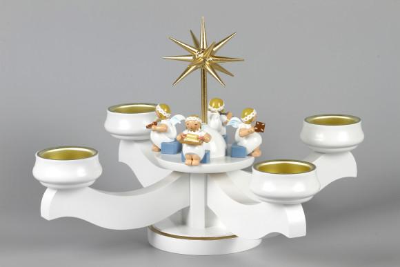 Adventsleuchter Engelbäckerei mit Wendt & Kühn Margeritenengeln für Stumpenkerzen