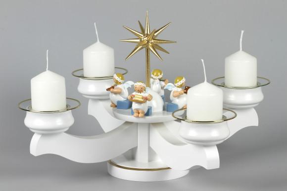 Adventsleuchter Engelbäckerei mit Wendt & Kühn Margeritenengeln für Stumpenkerzen, komplett