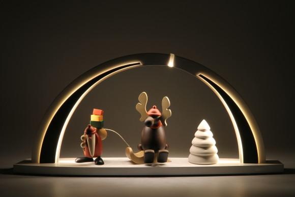 LED-Schwibbogen weiß schwarz mit Björn Köhler Motiv, groß