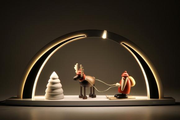 LED-Schwibbogen weiß schwarz mit Björn Köhler Figuren, groß