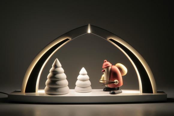 LED-Schwibbogen mit Bjoern Köhler Weihnachtsmann mit Glocke und Rute