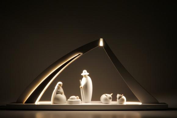 LED-Schwibbogen mit Bjorn Köhler Krippe in weiß, groß