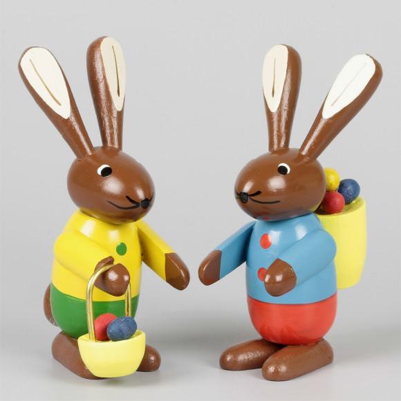 Osterhasen-Paar farbig, 9 cm