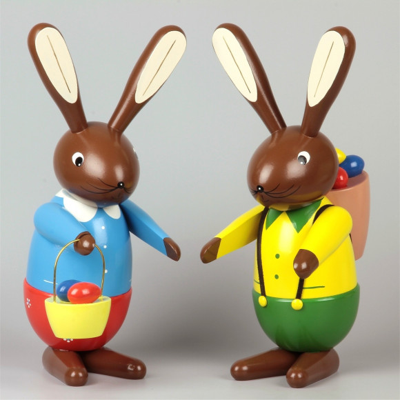 Osterhasen-Paar farbig, 35 cm