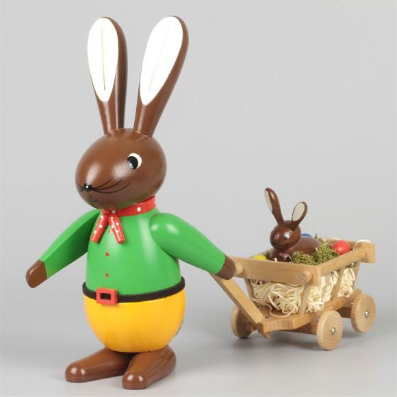 Osterhase mit Handwagen farbig, 20 cm