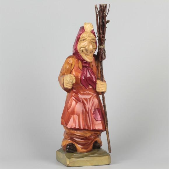 Geschnitzte Hexe farbig, 30 cm