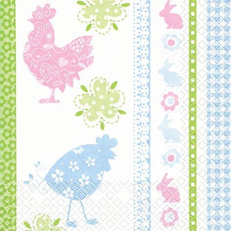 Tischservietten Hühner und Osterhasen