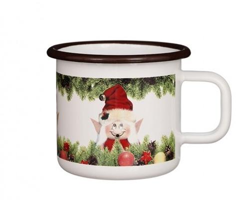 Emaille-Becher Glühweintasse Wichtel Weihnachtselfe