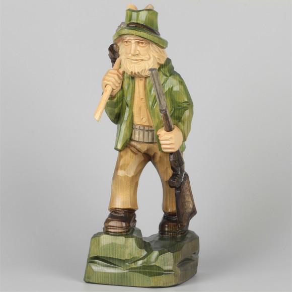 Geschnitzter Jäger farbig, 25 cm