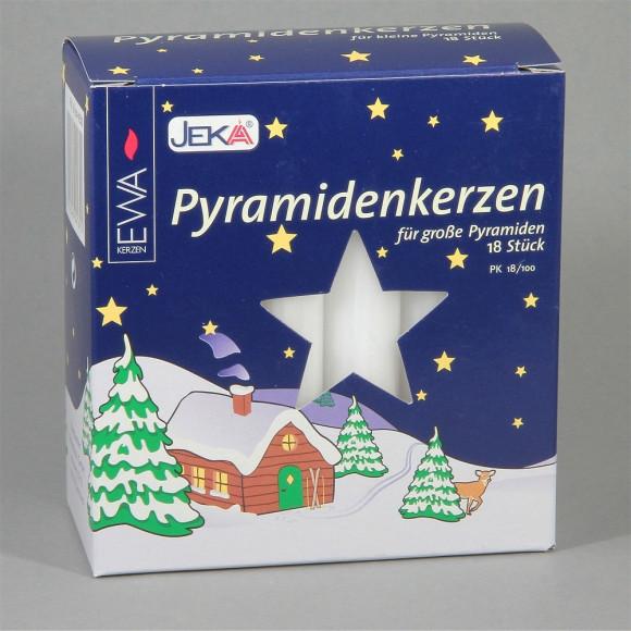 Pyramidenkerzen weiß, 18 Stück, 17 mm