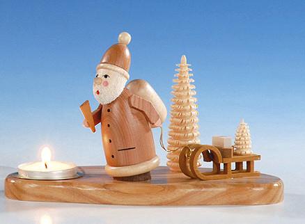 Teelichthalter mit Weihnachtsmann, natur