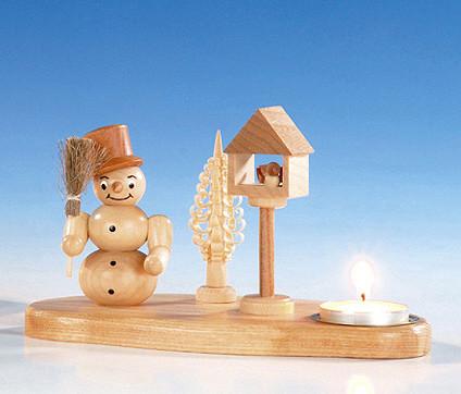 Teelichthalter mit Schneemann, natur