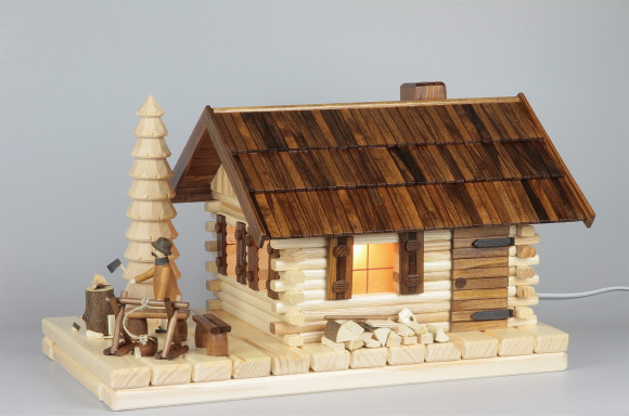Lichterhaus Räucherhaus Blockhütte mit Figur