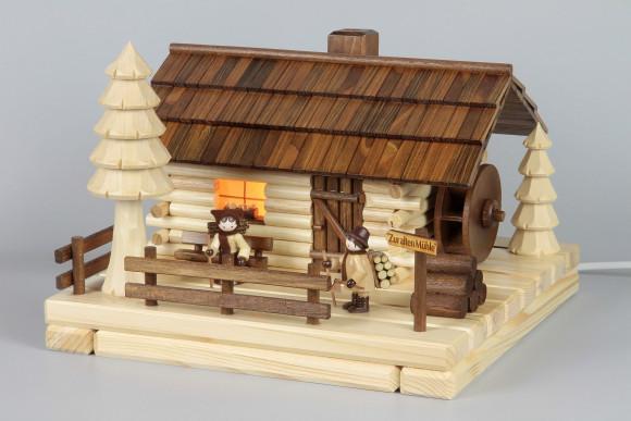 Lichterhaus Räucherhaus Blockhütte Alte Mühle mit Figuren