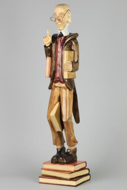 Geschnitzter Lehrer Lämpel farbig, 60 cm