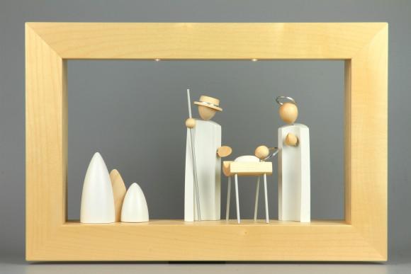 Wandrahmen Ahorn massiv mit Beleuchtung 2 LED mit Kavex Krippefiguren