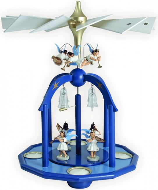 Teelichtpyramide mit 7 Engel und Glasglöckchen farbig