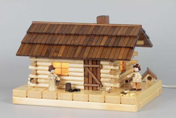Lichterhaus Räucherhaus Blockhütte Waldhütte mit Figuren