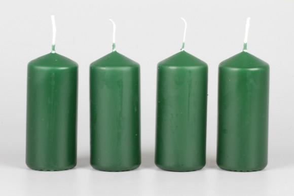 Stumpenkerzen tannengrün 90 x 40 mm - 4 Stück