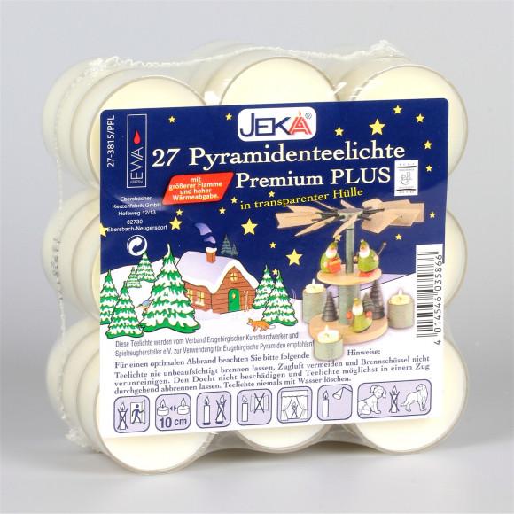 Premium-Teelichter für Pyramiden, 27 Stück, weiß, Kunststoff