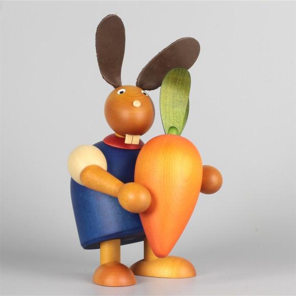 Hase mit oranger Möhre, blau, 17 cm