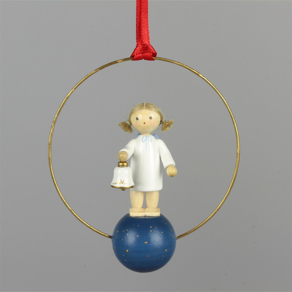 Baumbehang Engel mit Glocke im Ring