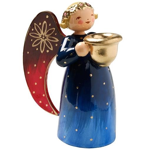 Engel klein mit Lichtnapf reich bemalt, blau