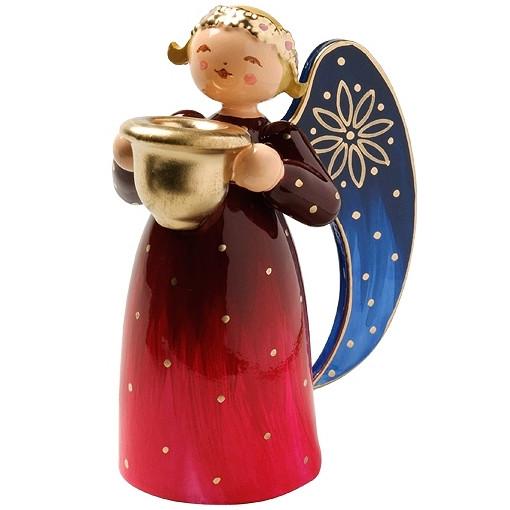 Engel klein mit Lichtnapf reich bemalt, rot
