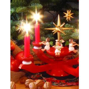 Adventsleuchter rot mit Engel