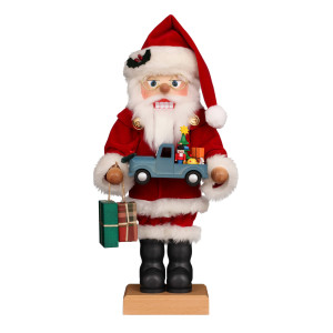 Nussknacker Weihnachtsmann mit Spielzeugauto
