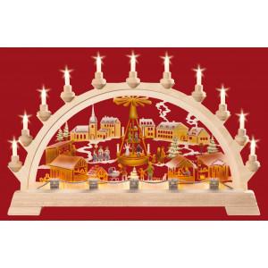 Schwibbogen Weihnachtsmarkt mit Pyramide, farbig