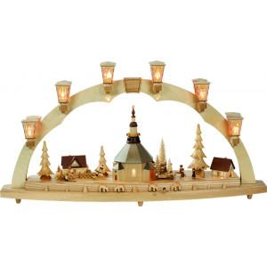 Schwibbogen Original Seiffener Kirche mit Kurrende
