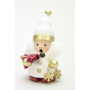 Räuchermännchen Weihnachtsmann weiß/gold