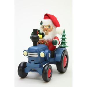 Räuchermännchen Weihnachtsmann auf Traktor