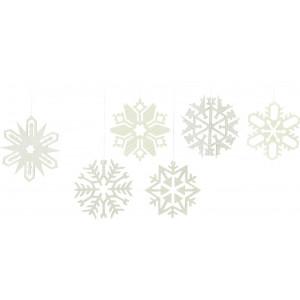 Baumbehang Schneekristalle, 6-teilig