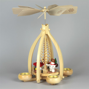 Teelichtpyramide mit Schneemänner, groß
