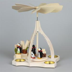 Teelichtpyramide Pinguine auf Eisscholle