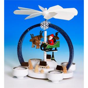Teelichtpyramide Weihnachtszauber, dunkelblau