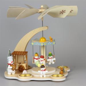 Schneemann-Teelichtpyramide Karusell