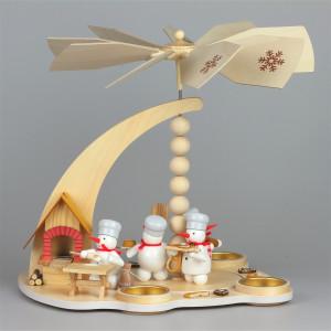 Schneemann-Teelichtpyramide Weihnachtsbäckerei mit Räucherbackofen