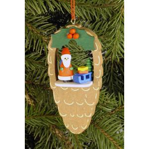 Baumbehang Zapfen mit Weihnachtsmann