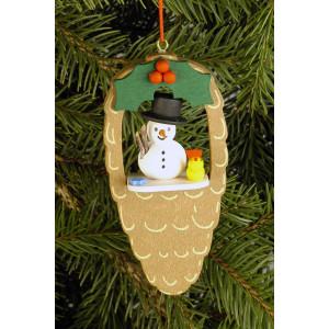 Baumbehang Zapfen mit Schneemann und Vogel