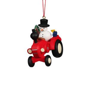Baumbehang Traktor mit Schneemann